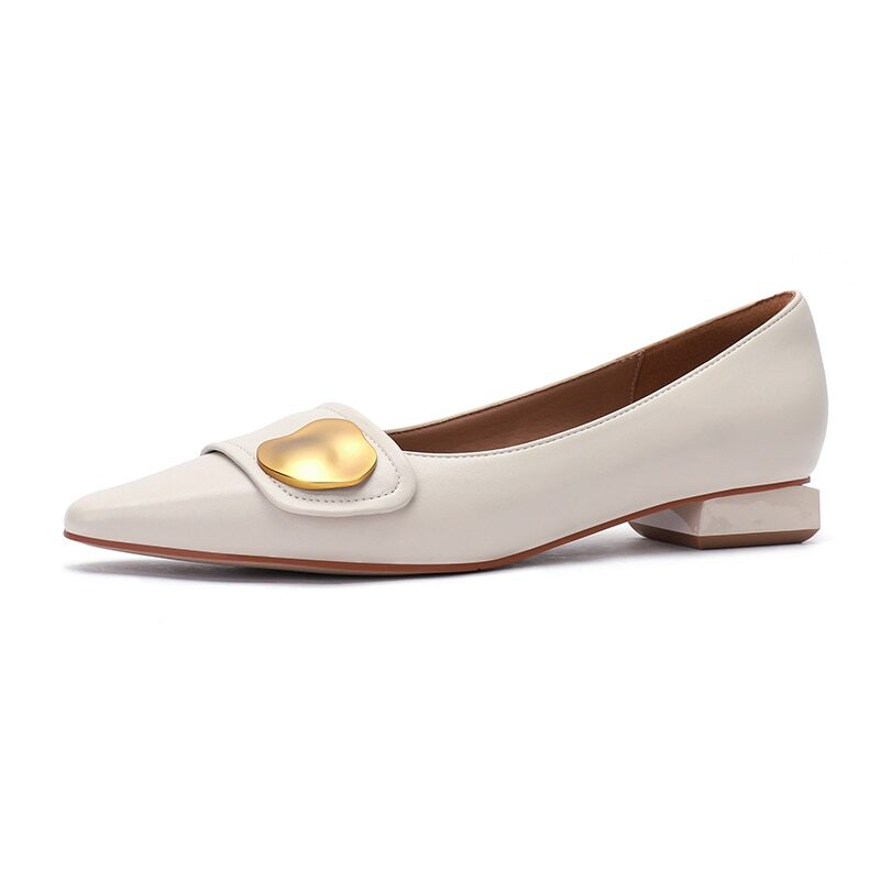 New 2021 Spring Women Shoes Moccasins Low Square Heels Brand Design Gold Buckle Female Slip On Casual Elegant Comfortable Pumps 9