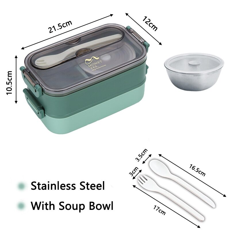 304 Stainless Steel Lunch Box Bento Box For School Kids Office Worker 2layers Microwae Heating Lunch Container Food Storage Box 20