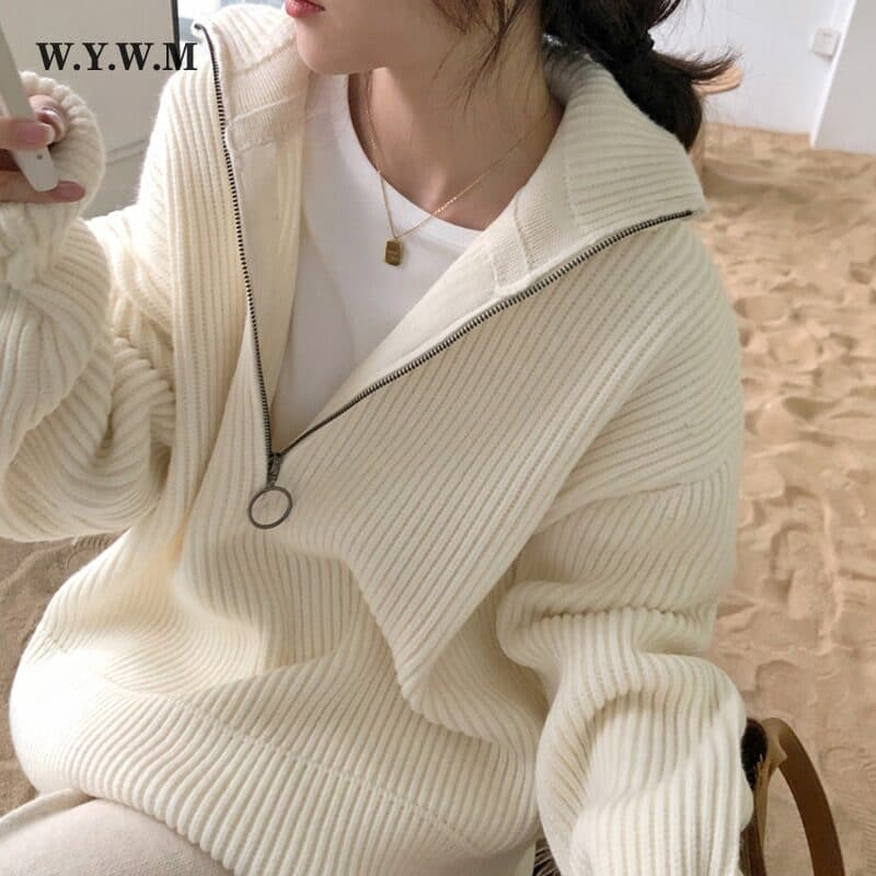 WYWM Pit Stripes Cashmere Sweaters Women Loose Casual Knited Pullovers Ladies 2021 Winter Zipper Turn-down Collar Thick Jumper 1