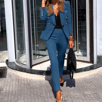 Spring autumn blazer suits for women 2020 black chic business two piece outfits fashion woman blazer jacket and pants formal set