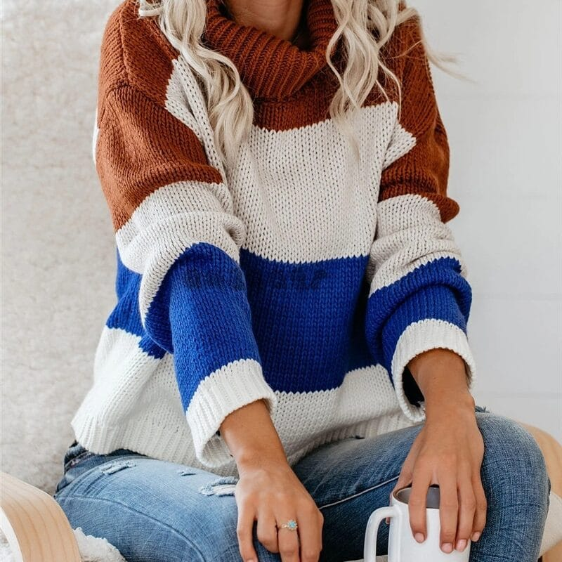 Color Block Turtleneck Sweater Womens Sweaters 2020 Jumpers Long Sleeve Striped Oversized Knitted Fluffy Sweater Pullover Women 7