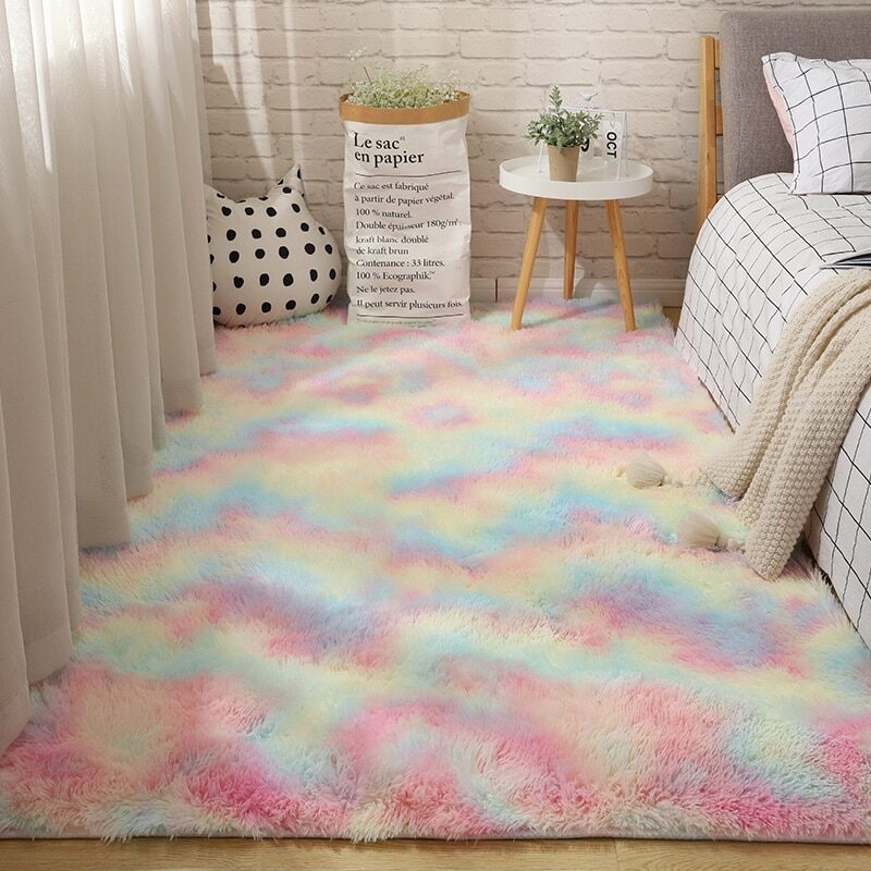 Fluffy Tie Dye Carpets For Bedroom Decor Modern Home Floor Mat Large Washable Nordica in the Living Room Soft White Shaggy Rug 15