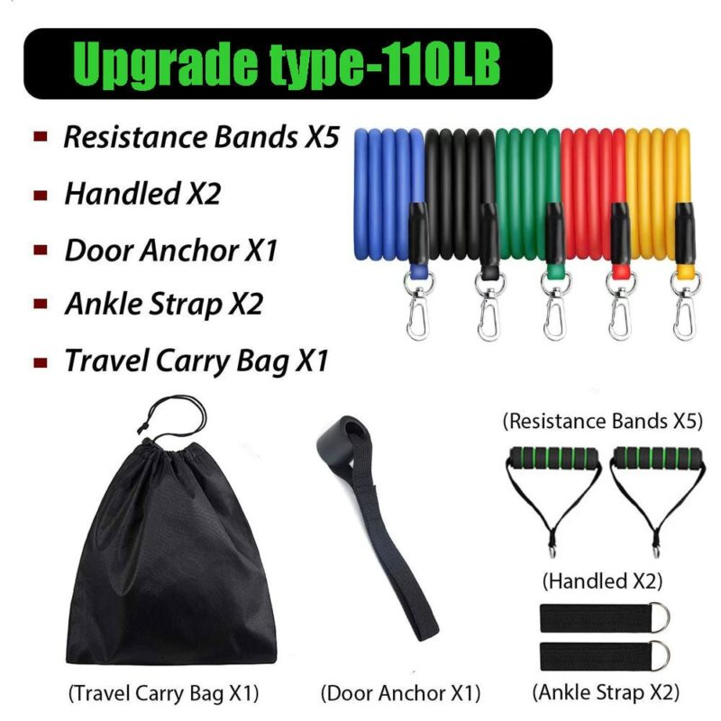 11pcs/Set Latex Resistance Bands Set Exercise Yoga Tube Pull Rope Fitness Sport Rubber Elastic Bands Muscle Strength Training 8