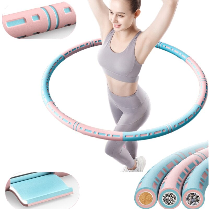 6 Sections Detachable Stainless Steel Easy Sport Hoop Buiktrainer Fitness Gym Tool Weighted Waist Trainer Ring Workout Equipment 1
