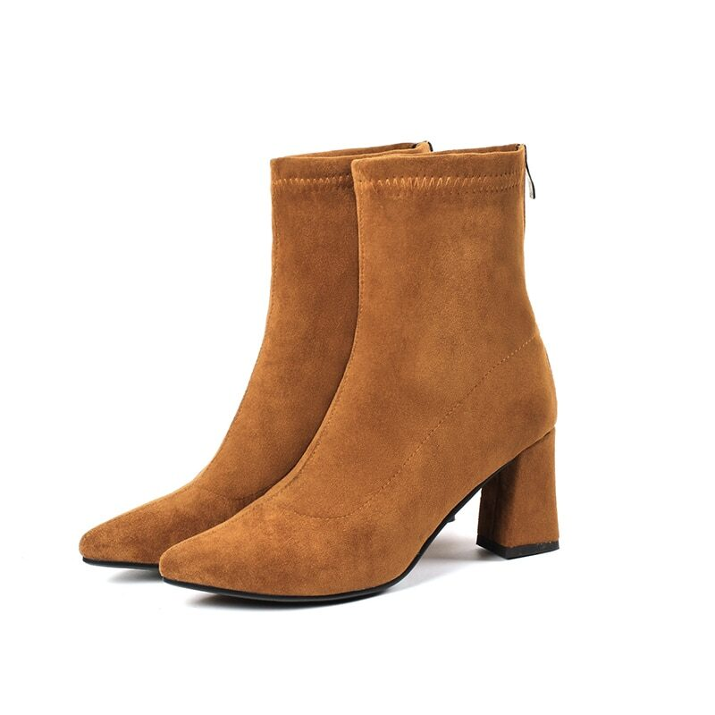Women's slip on ankle boots with block heel