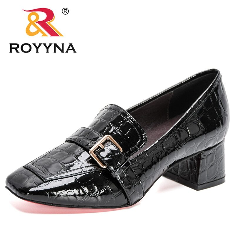 ROYYNA 2020 New Designers Fashion Pumps Patent Leather Thick Heel Shoes Women Square Toe Dress Shoes Ladies Pull-On Shoes Woman 7