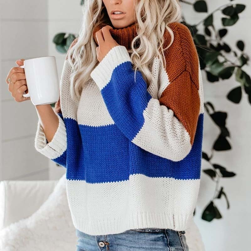 Color Block Turtleneck Sweater Womens Sweaters 2020 Jumpers Long Sleeve Striped Oversized Knitted Fluffy Sweater Pullover Women 1