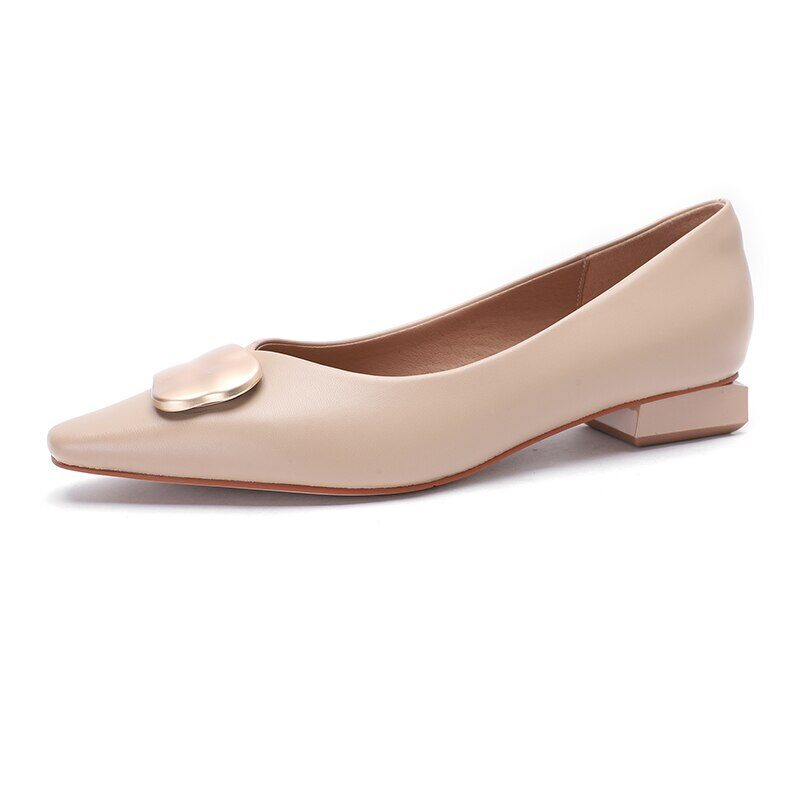 New 2021 Spring Women Shoes Moccasins Low Square Heels Brand Design Gold Buckle Female Slip On Casual Elegant Comfortable Pumps 11