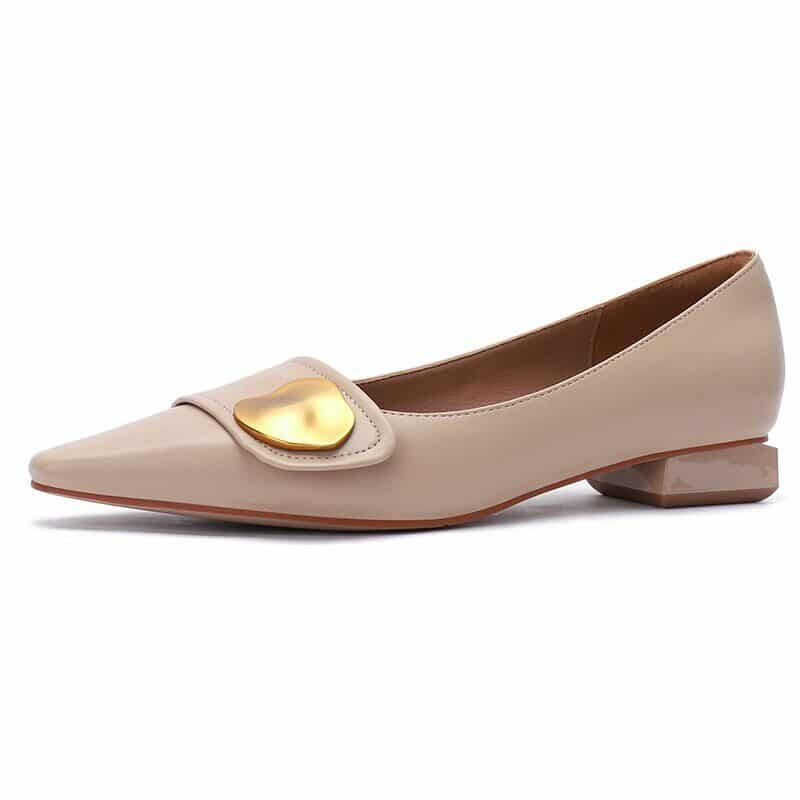 New 2021 Spring Women Shoes Moccasins Low Square Heels Brand Design Gold Buckle Female Slip On Casual Elegant Comfortable Pumps 15