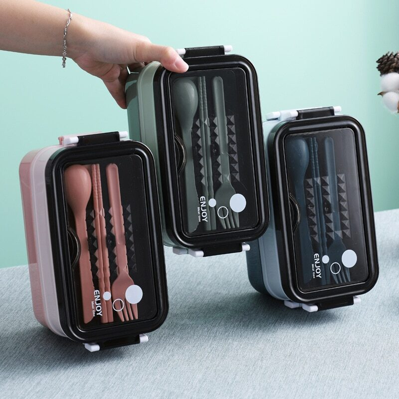 304 Stainless Steel Lunch Box Bento Box For School Kids Office Worker 2layers Microwae Heating Lunch Container Food Storage Box 1