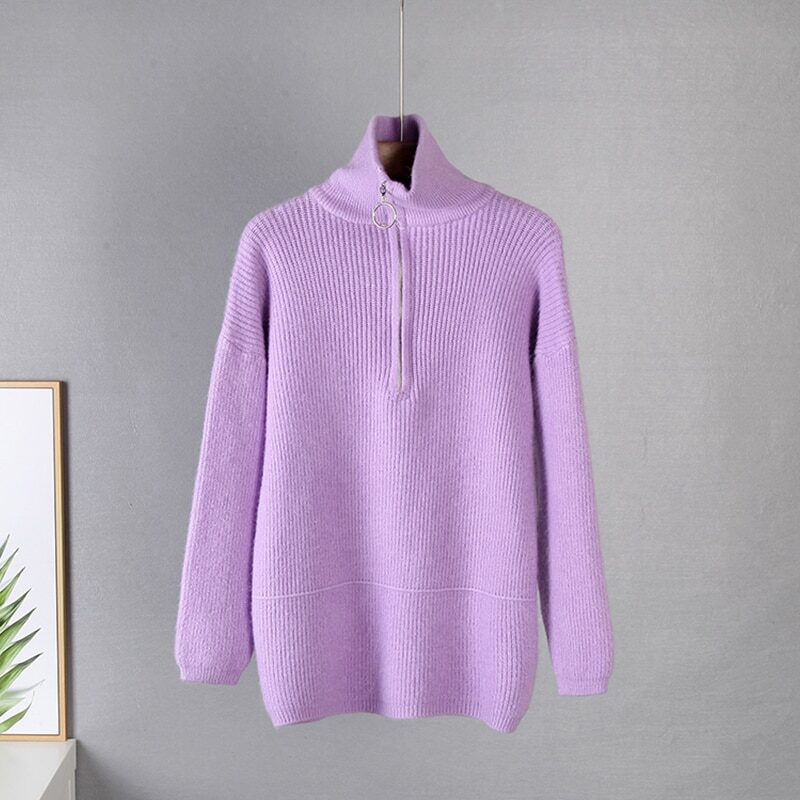 WYWM Pit Stripes Cashmere Sweaters Women Loose Casual Knited Pullovers Ladies 2021 Winter Zipper Turn-down Collar Thick Jumper 9