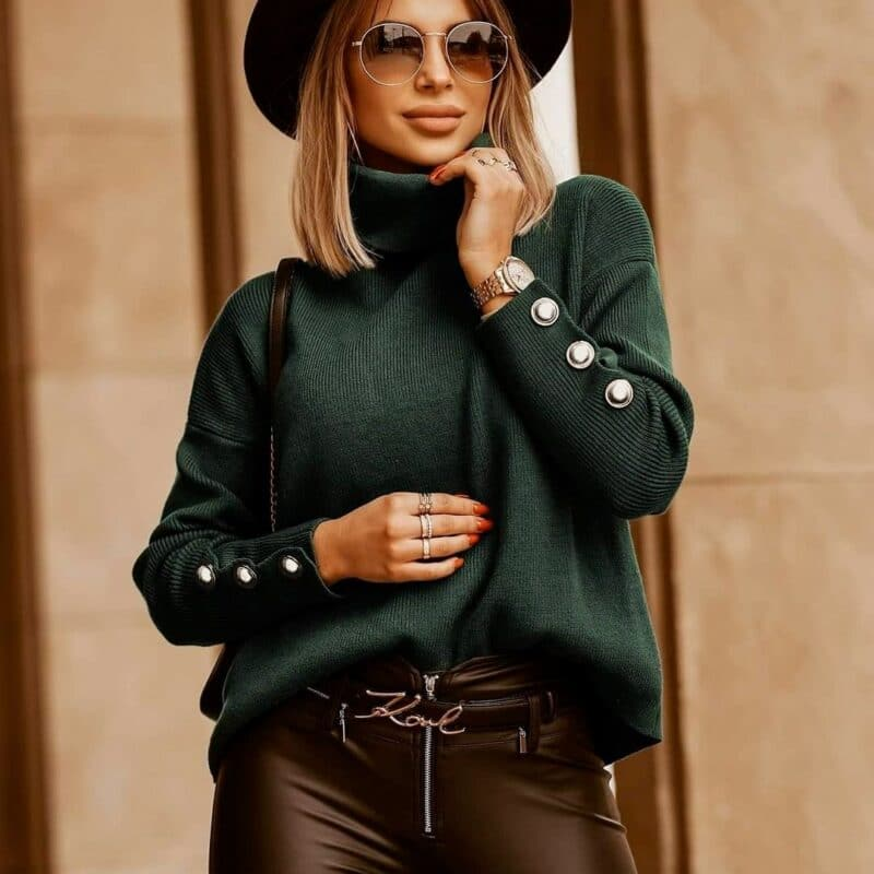Plus Size Womens Sweaters 2021 Fashion Women's Turtleneck Pullovers Button Long Sleeve Loose Knitted Sweater Tops for Women 10