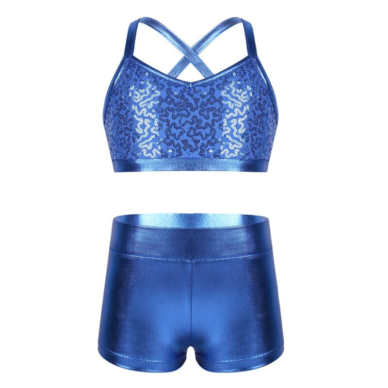 Girl's top and shorts set with sequins