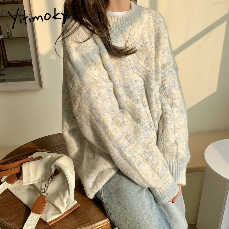 Yitimoky Fall Sweaters for Women Pink Beige O-Neck Pullovers Vintage Thick Knitted Long Sleeve Clothes Korean Style Loose Top 1