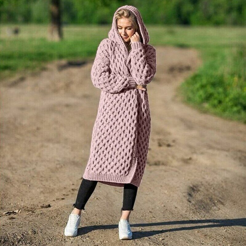 New Arrival Fashion Women's Hooded Thick Knitted Sweater Cardigan Coat Long Sleeve Winter Warm Hooded Long Cloak 12