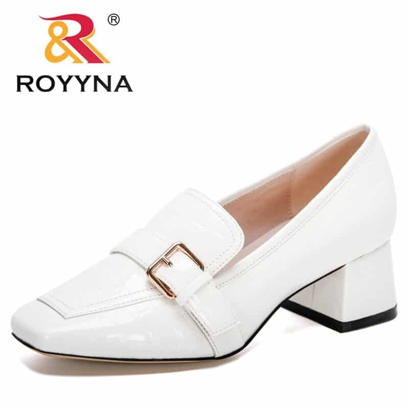 ROYYNA 2020 New Designers Fashion Pumps Patent Leather Thick Heel Shoes Women Square Toe Dress Shoes Ladies Pull-On Shoes Woman 10