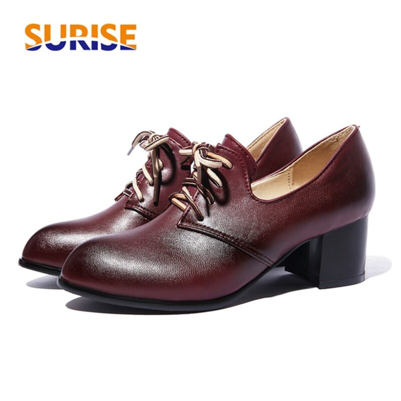 Big Size Spring Women Derbies Vintage Brogues Pointed Toe Black PU Oxfords Autumn Lace Up Casual Office Dress British Lady Flats 1