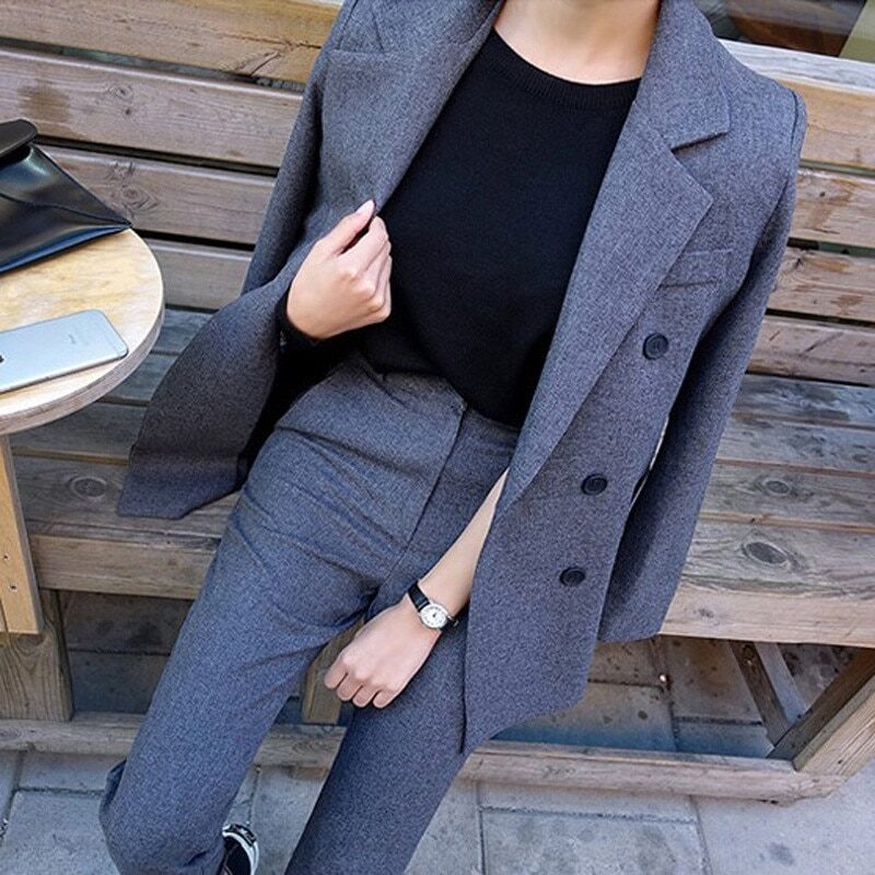 Fashion Business Pant Suits Uniform Formal Double Breasted Jacket and Long Pant Black Blazer Set Women OL 2 Two Pieces Suits 1