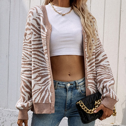 2021 Women's Knitted Leopard Print Sweater Casual Loose Button Comfortable Thick Animal Pullovers Knitted Cardigans for Women 10