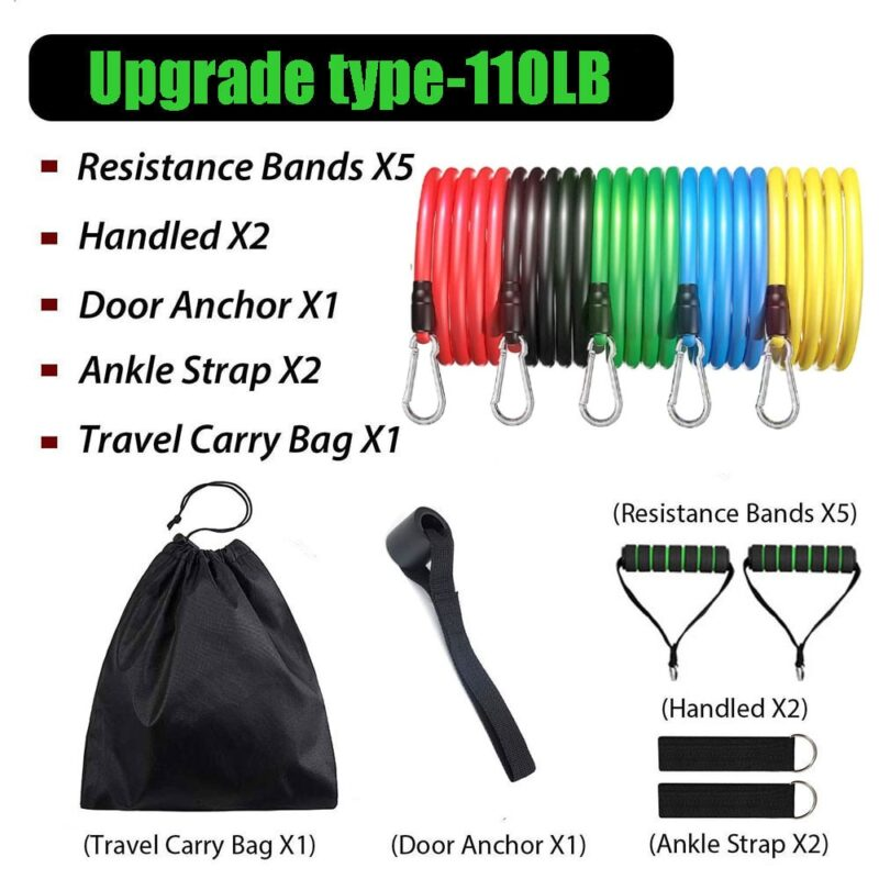 11pcs/Set Latex Resistance Bands Set Exercise Yoga Tube Pull Rope Fitness Sport Rubber Elastic Bands Muscle Strength Training 7