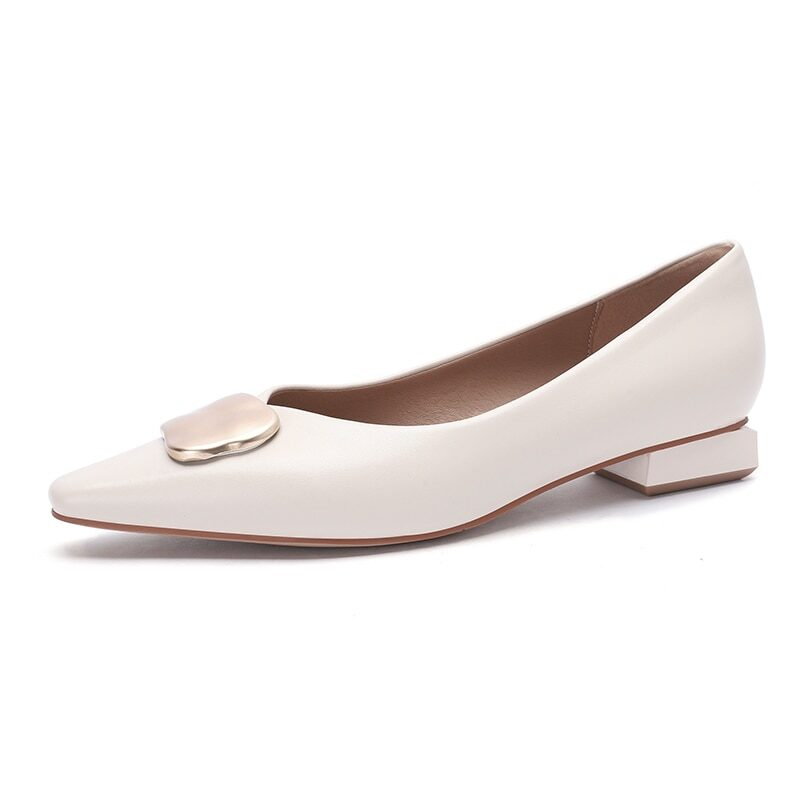 New 2021 Spring Women Shoes Moccasins Low Square Heels Brand Design Gold Buckle Female Slip On Casual Elegant Comfortable Pumps 8
