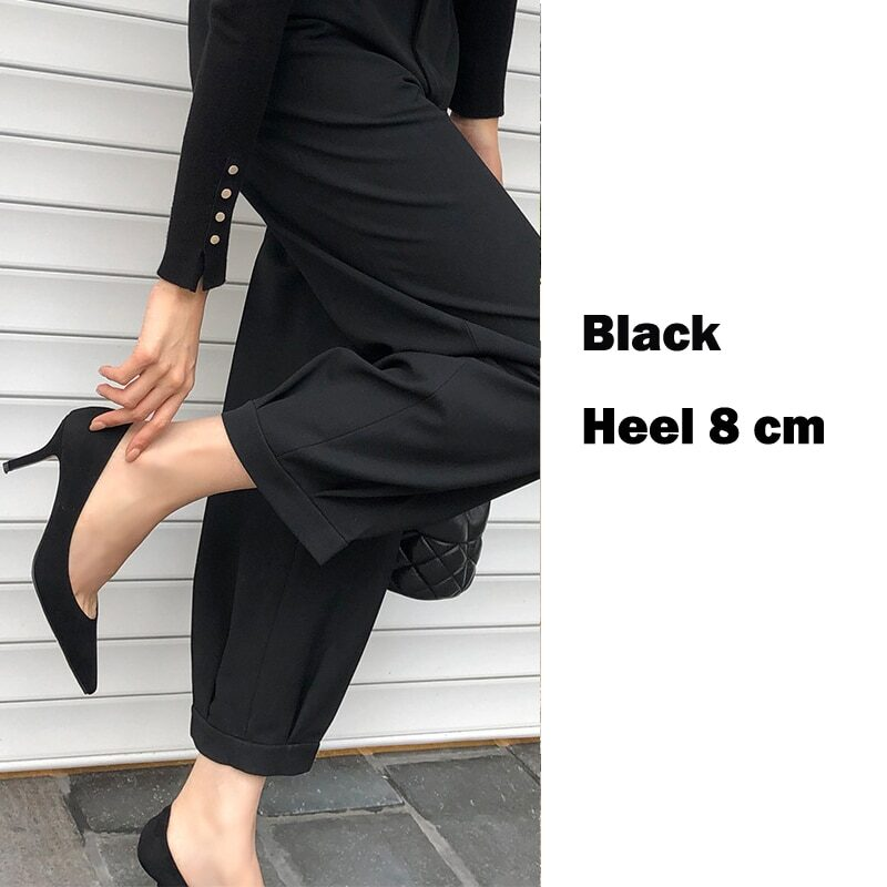 EOEODOIT 6 CM 8 CM Heels Shoes Women Formal Fashion High Stiletto Heels Office Party Dress Shoes Sexy Pointed Toe Slip On 9