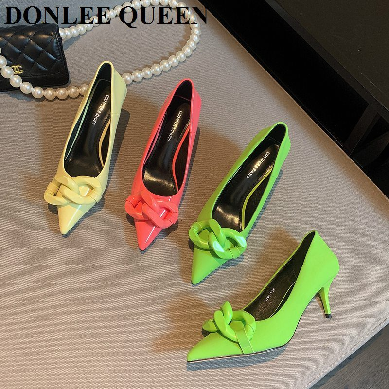 Brand Chain Shoes Fashion Pointed Toe Thin Heels 5cm Pumps For Dress Party Female Office Lady Shoes Candy Color Zapatillas Mujer 1