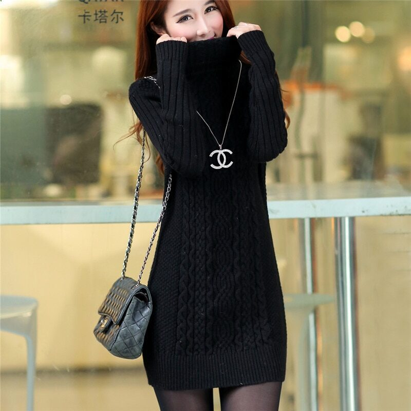 Thicken Turtleneck Sweater Medium Long Knitted Pullovers Women 2020 Autumn Winter Loose Knit Warm Sweater Female Casual Top W364 10
