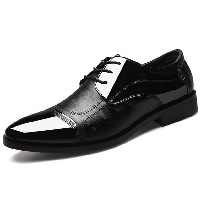Men's pointed leather dance shoes