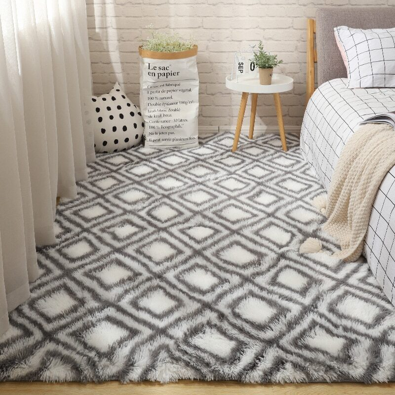 Fluffy Tie Dye Carpets For Bedroom Decor Modern Home Floor Mat Large Washable Nordica in the Living Room Soft White Shaggy Rug 17