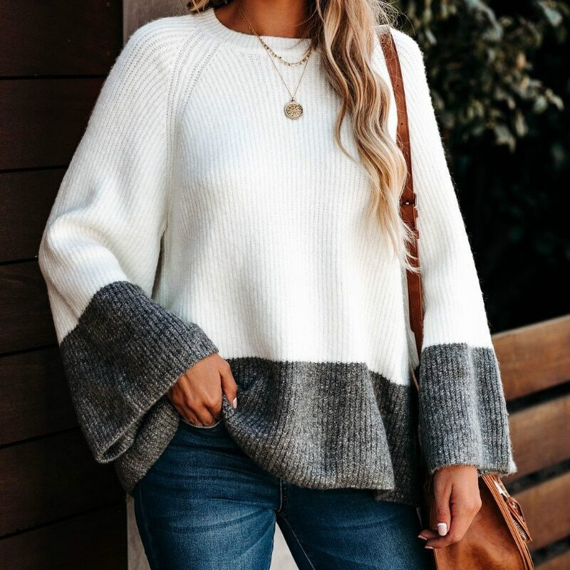 Oversized Ladies Color-block Sweater Women Autumn Winter Tops 2020 New Knitted Pullovers Knitwear Loose Striped Sweaters Female 1