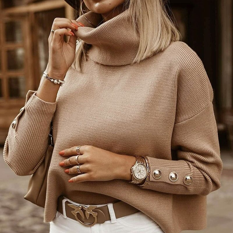 Plus Size Womens Sweaters 2021 Fashion Women's Turtleneck Pullovers Button Long Sleeve Loose Knitted Sweater Tops for Women 1