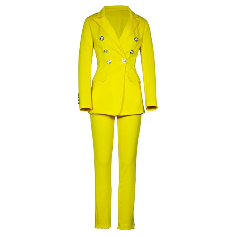 Autumn solid office blazer suits women business classic double-breasted blazer jacket & pant sets two piece fashion formal suit