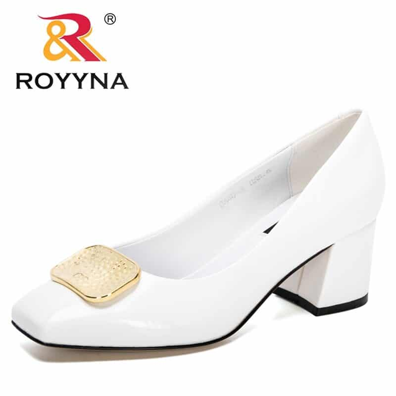 ROYYNA 2021 New Designers Dress Shoes OL Office Shoes Ladies Patent Leather High Heels Woman Pumps Square Toe Wedding Footwear 7