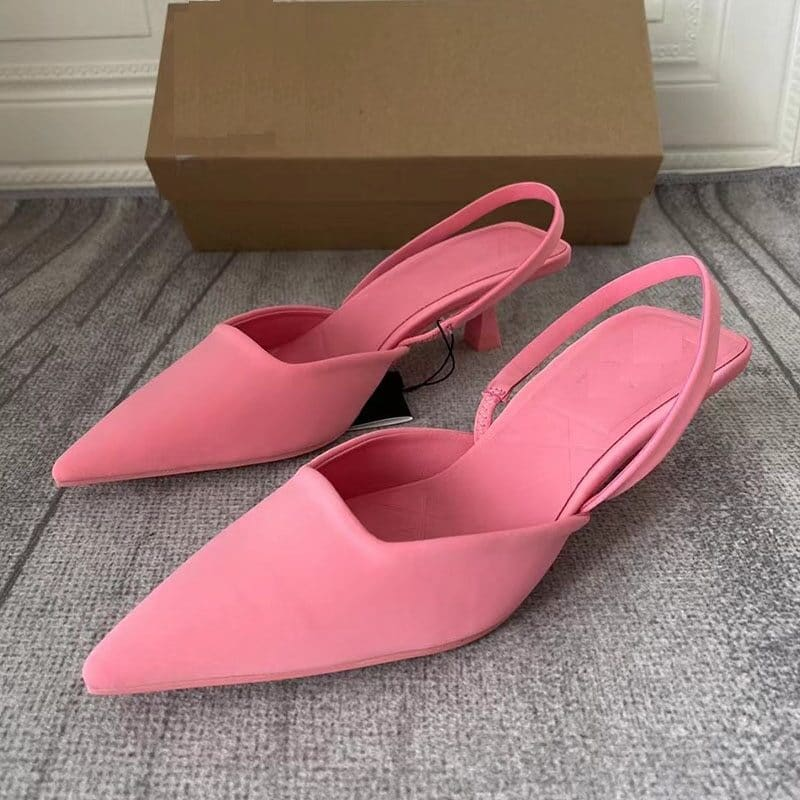 2021 New Brand Women Sandal Shoes Pink Thin Low Heel 4cm Pumps Dress Shoes Ladies Fashion Pointed Toe Shallow Slingback Mules 8