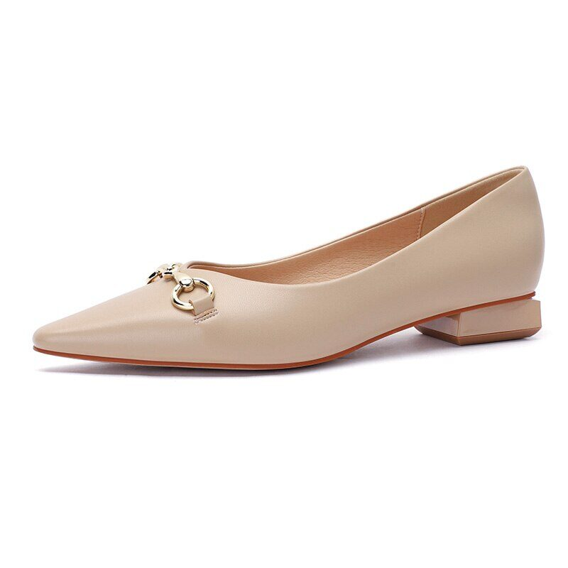 New 2021 Spring Women Shoes Moccasins Low Square Heels Brand Design Gold Buckle Female Slip On Casual Elegant Comfortable Pumps 13