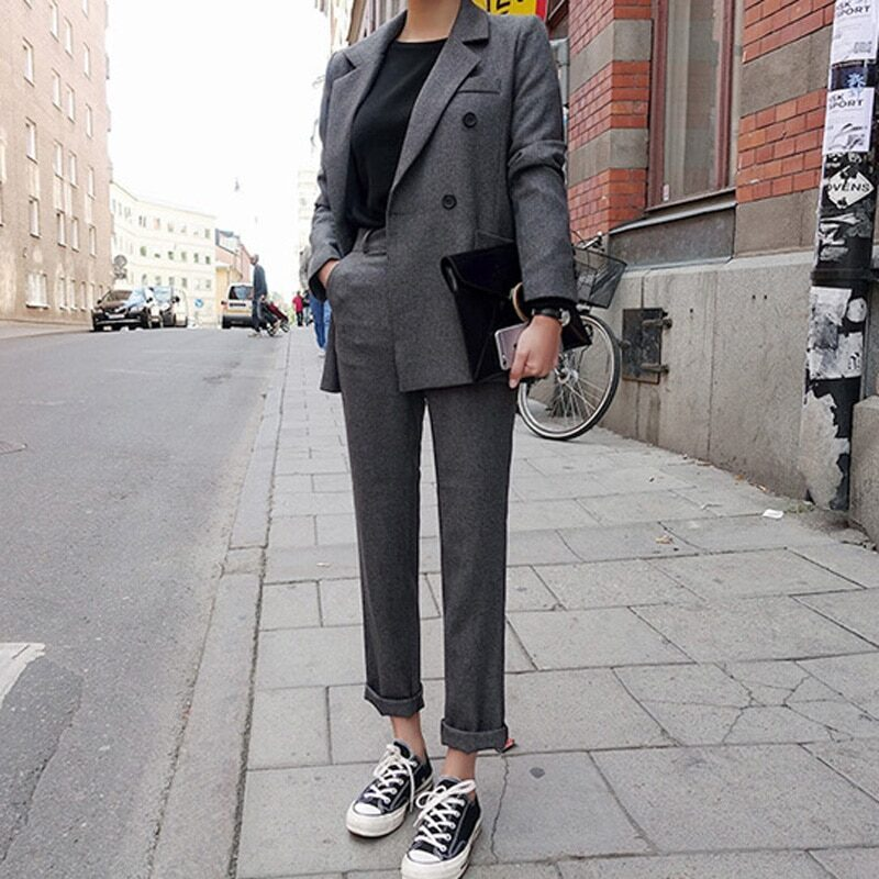 Fashion Business Pant Suits Uniform Formal Double Breasted Jacket and Long Pant Black Blazer Set Women OL 2 Two Pieces Suits 7