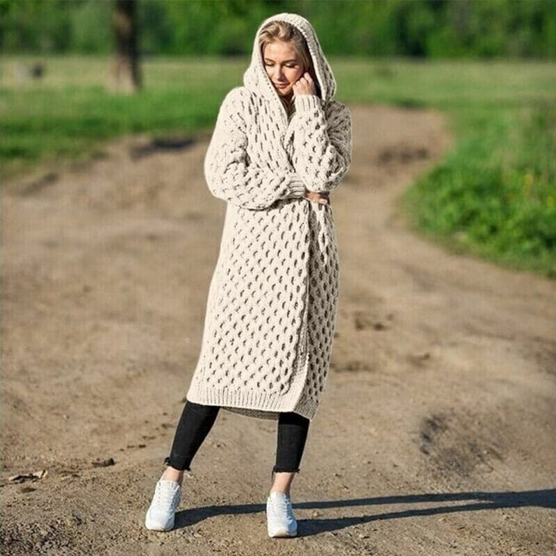 New Arrival Fashion Women's Hooded Thick Knitted Sweater Cardigan Coat Long Sleeve Winter Warm Hooded Long Cloak 10