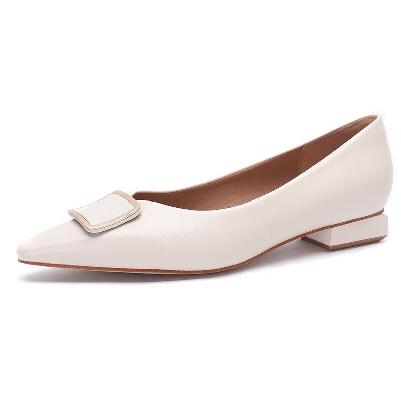 New 2021 Spring Women Shoes Moccasins Low Square Heels Brand Design Gold Buckle Female Slip On Casual Elegant Comfortable Pumps 21