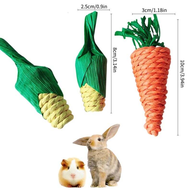 Hamster Rabbit Chew Toy Bite Grind Teeth Toys Corn Carrot Woven Balls For Tooth Cleaning Radish Molar Toys Pet Supplies 4