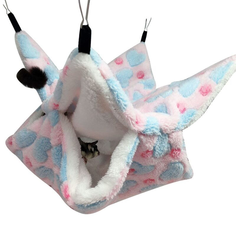Warm Hamster Hammock Rat Hanging Beds House Small Animal Cage Squirrel Guinea Pig Double-layer Plush Cotton Nests Pets Supplies 8