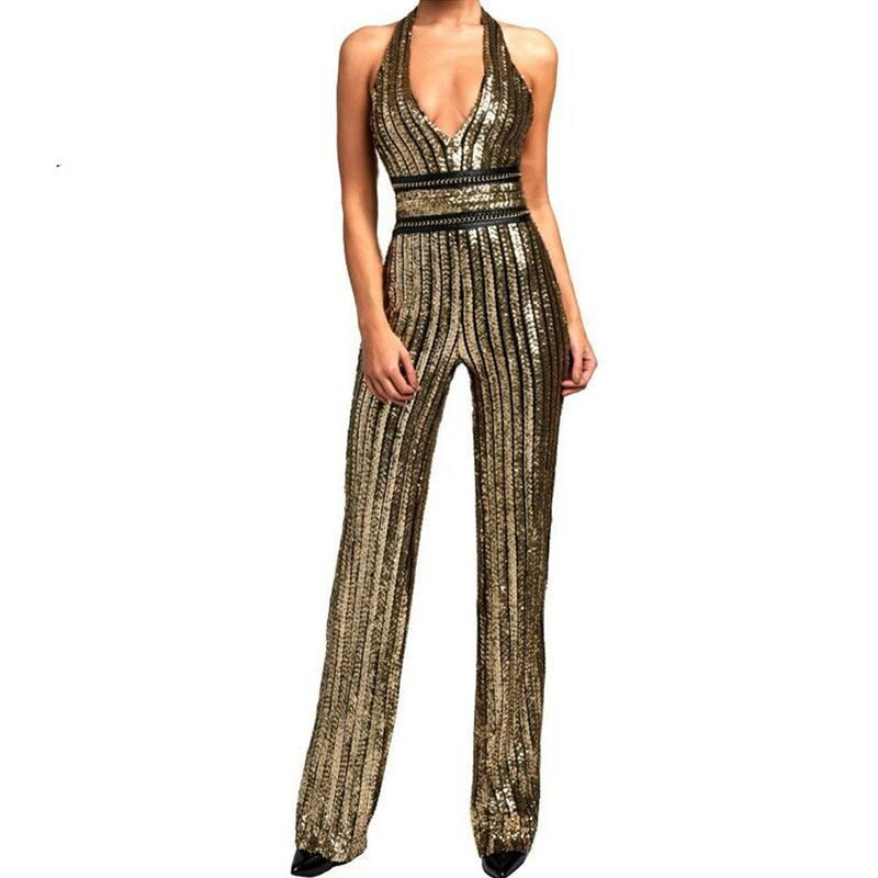 Women's sleeveless jumpsuit with sequins