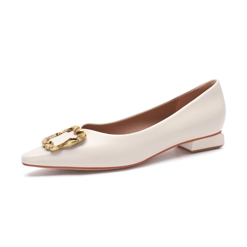 New 2021 Spring Women Shoes Moccasins Low Square Heels Brand Design Gold Buckle Female Slip On Casual Elegant Comfortable Pumps 19