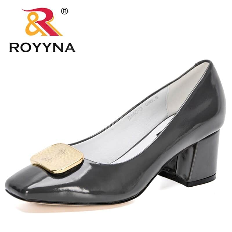 ROYYNA 2021 New Designers Dress Shoes OL Office Shoes Ladies Patent Leather High Heels Woman Pumps Square Toe Wedding Footwear 8