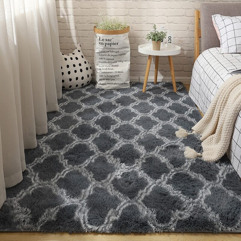 Fluffy Tie Dye Carpets For Bedroom Decor Modern Home Floor Mat Large Washable Nordica in the Living Room Soft White Shaggy Rug 18