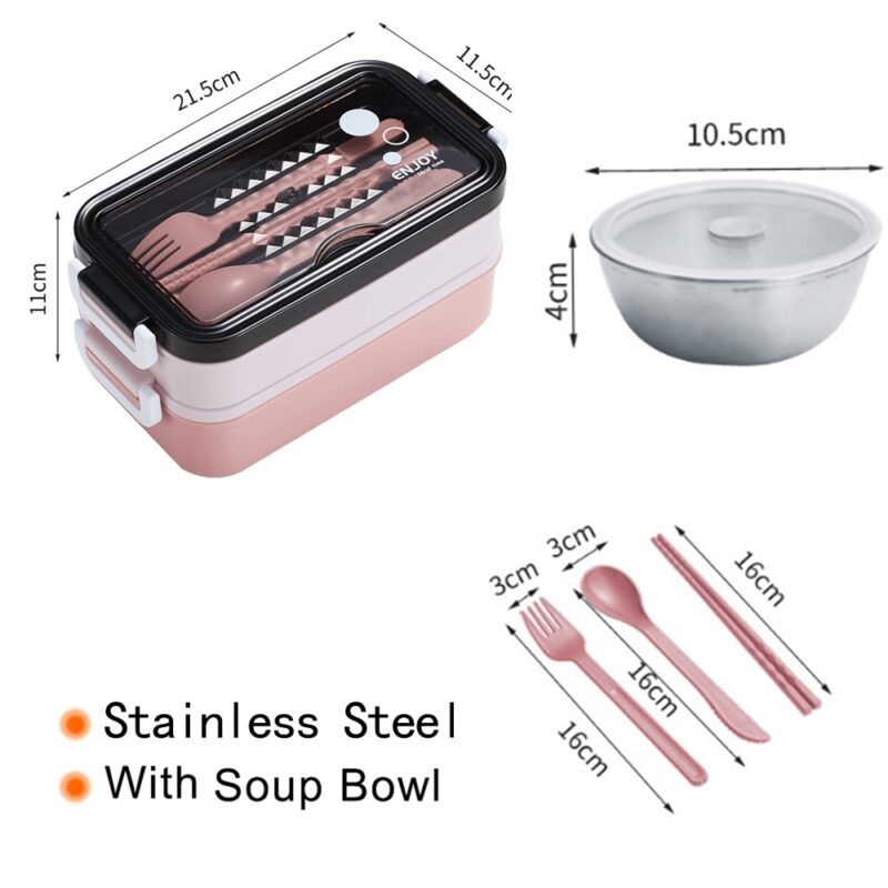 304 Stainless Steel Lunch Box Bento Box For School Kids Office Worker 2layers Microwae Heating Lunch Container Food Storage Box 30