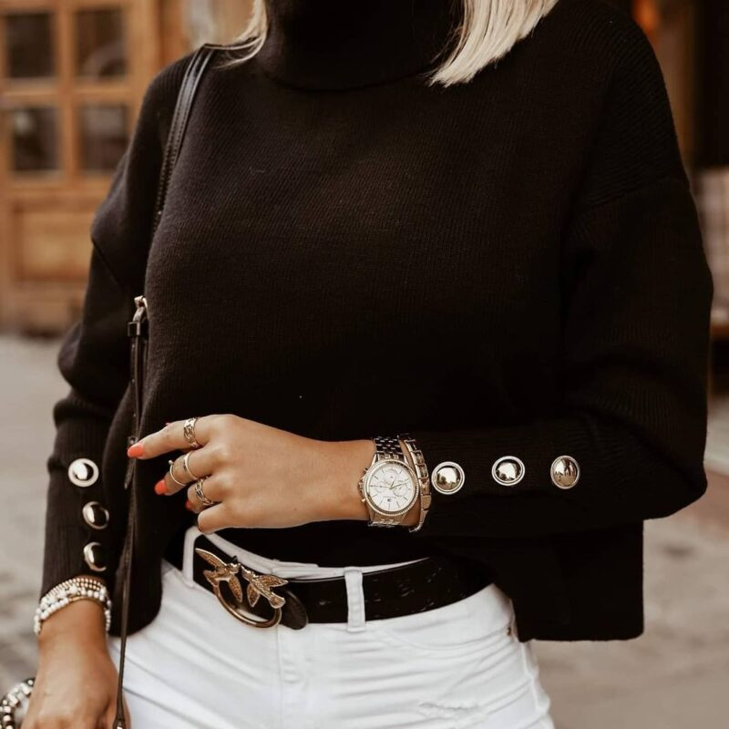 Plus Size Womens Sweaters 2021 Fashion Women's Turtleneck Pullovers Button Long Sleeve Loose Knitted Sweater Tops for Women 7