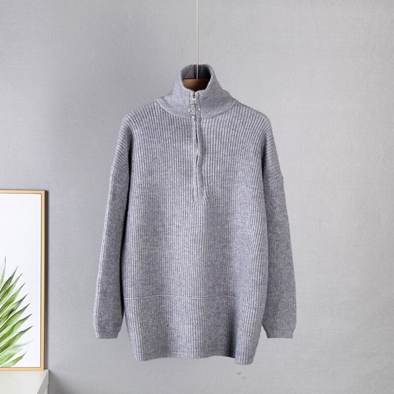 WYWM Pit Stripes Cashmere Sweaters Women Loose Casual Knited Pullovers Ladies 2021 Winter Zipper Turn-down Collar Thick Jumper 12