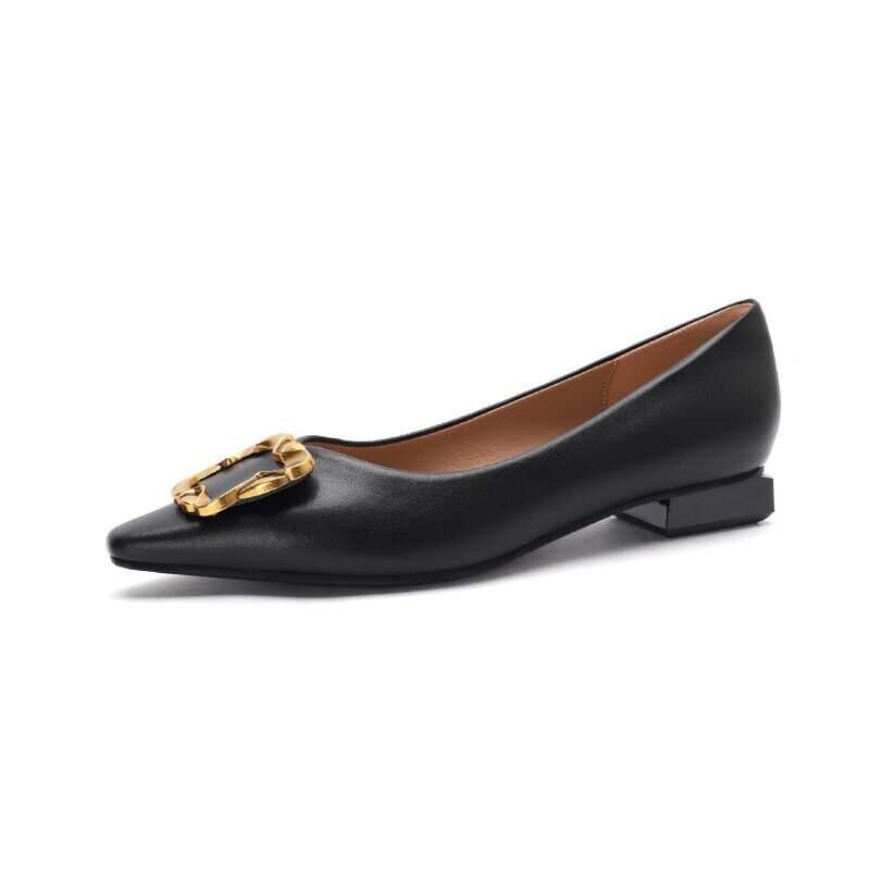 New 2021 Spring Women Shoes Moccasins Low Square Heels Brand Design Gold Buckle Female Slip On Casual Elegant Comfortable Pumps 23