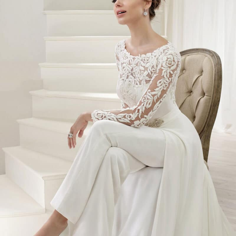 Women's autumn white full body jumpsuit with lace details